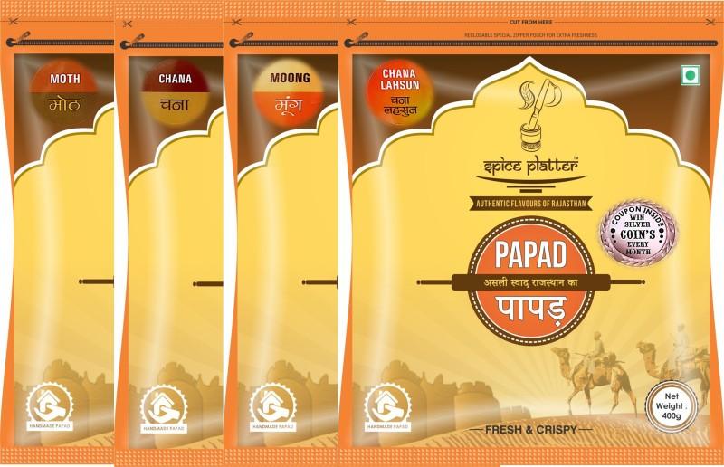 Spice Platter Crispy Sajji Papad Combo -Authentic Rajasthani Flavored Papad Pack of 4-Moong Tej Masala, Moth, Chana Lahsun and Chana Papad Masala Papad 1600 g(Pack of 4)