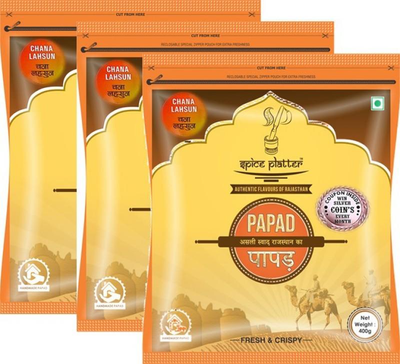 Spice Platter Chana Lahsun Papad - Authentic Rajasthani sajji chana papad with balanced flavor of garlic - Pack of 3 - 400g each Masala Papad 1200 g(Pack of 3)