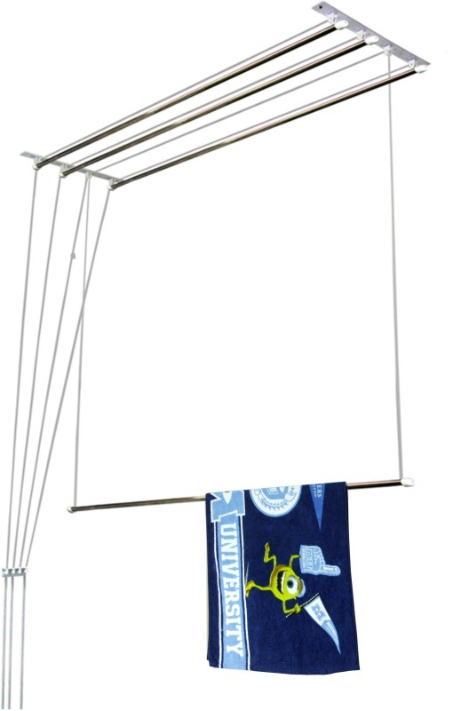 Homwell Deluxe Heavy Duty Rust Proof 4 Pipe X 4 Feet with UV protected Nylon Ropes (Light Blue Color Side Caps) Individual dropdown Roof Mounted Ceiling Cloth Hanger Stainless Steel Ceiling Cloth Dryer Stand(Blue)