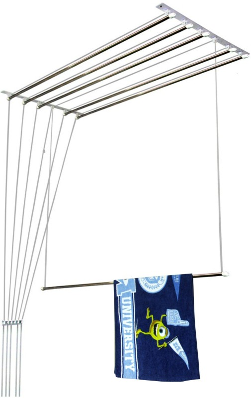 Homwell Deluxe Heavy Duty Rust Proof 6 Pipe X 5 Feet with UV protected Nylon Ropes (Light Blue Color Side Caps) Individual dropdown Roof Mounted Ceiling Cloth Hanger Stainless Steel Ceiling Cloth Dryer Stand(Blue)