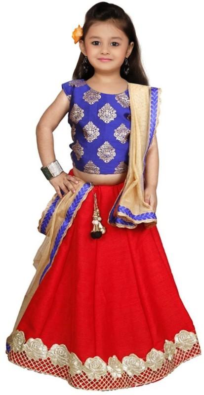 Wommaniya Impex Girl's Lehenga Choli Ethnic Wear Self Design Lehenga Choli(Blue, Pack...