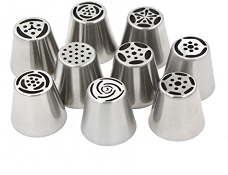 Skywalk Imported 9pcs Russian Tulip Icing Piping Nozzles Cake Decoration Tips Home DIY Tools Imported 9pcs Russian Tulip Icing Piping Nozzles Cake Decoration Tips Home DIY Tools Silver Kitchen Tool Set(Silver)