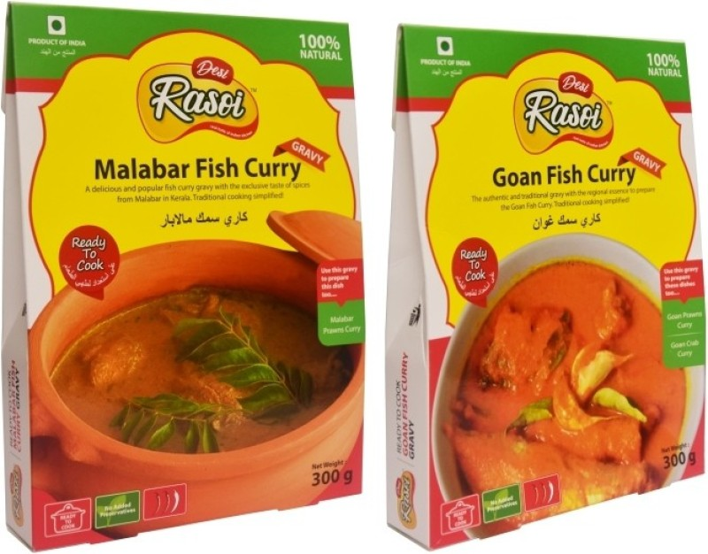 Desi Rasoi Combo- Malabar Fish Curry + Goan Fish Curry (Pack of 2) 600 g