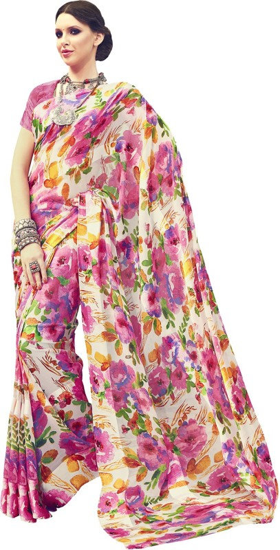 Ratnavati Floral Print Bollywood Georgette, Satin Saree(Pink)