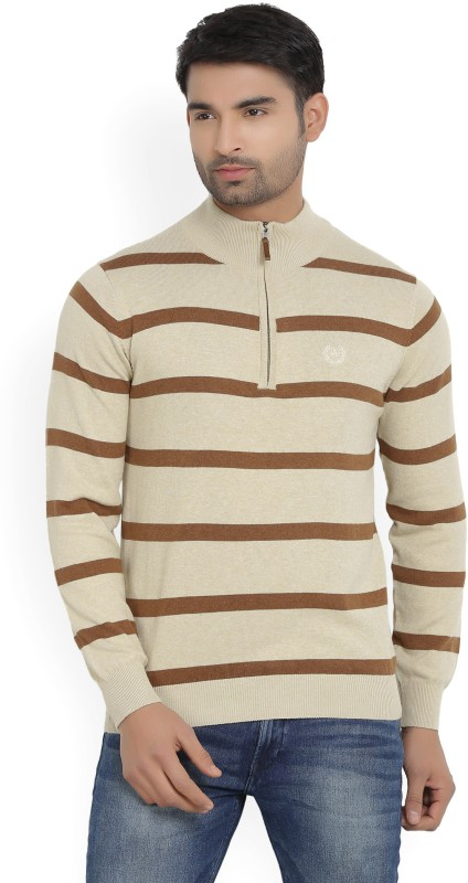 Arrow Sport Striped Turtle Neck Casual Mens Beige Sweater