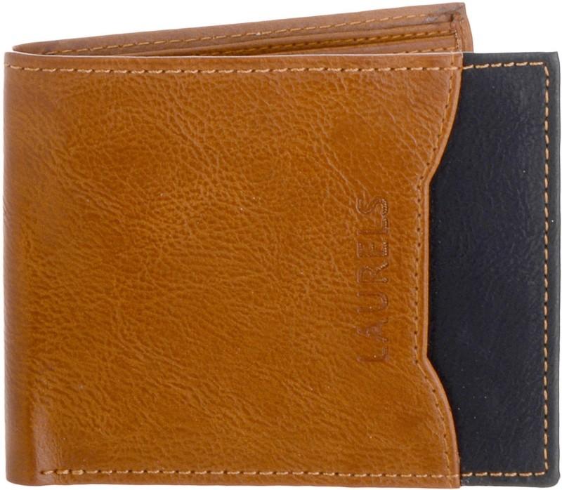 Laurels Men Tan Genuine Leather Wallet(8 Card Slots)