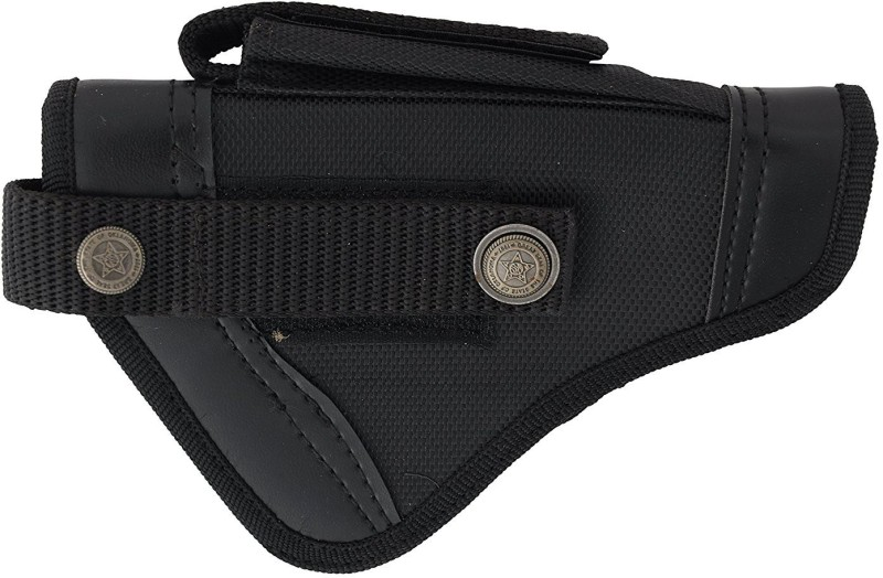 SHAH Nylon .9 mm Pistol Cover, 18 cm x 13 cm Racquet Carry Case/Cover Free Size(Black)