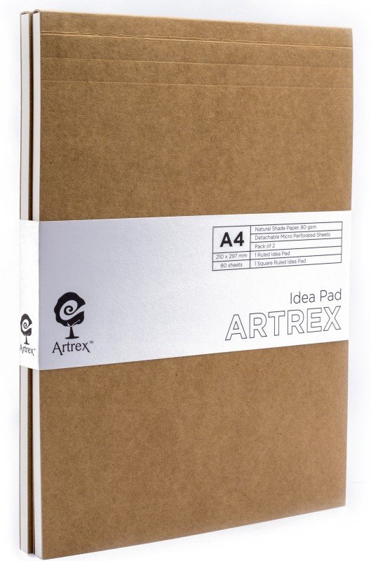 ARTREX A4 Note Pad(IDEA A4 RULED + SQUARE NOTE PAD (PACK OF 2), Brown, Pack of 2)