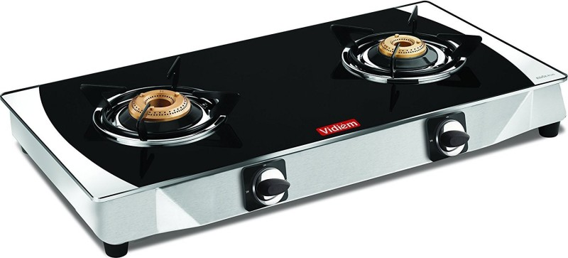 Vidiem Edge Plus 2 Burner Glass Manual Gas Stove(2 Burners)