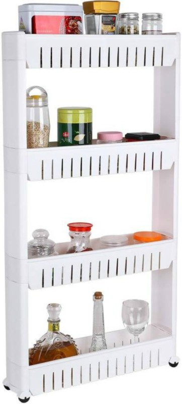 Inovera 4 Tier Slim Side Kitchen Storage Rack With Wheels Plastic Kitchen Trolley