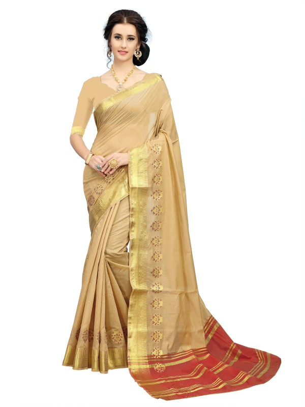 Rola Trendz Self Design, Striped Kanjivaram Art Silk, Cotton Silk Saree(Beige)
