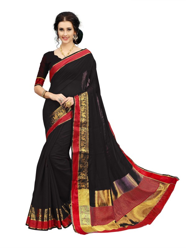 Rola Trendz Animal Print, Striped Kanjivaram Art Silk, Cotton Silk Saree(Black)