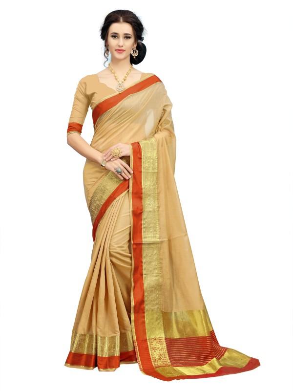 Rola Trendz Animal Print, Striped Kanjivaram Art Silk, Cotton Silk Saree(Beige)