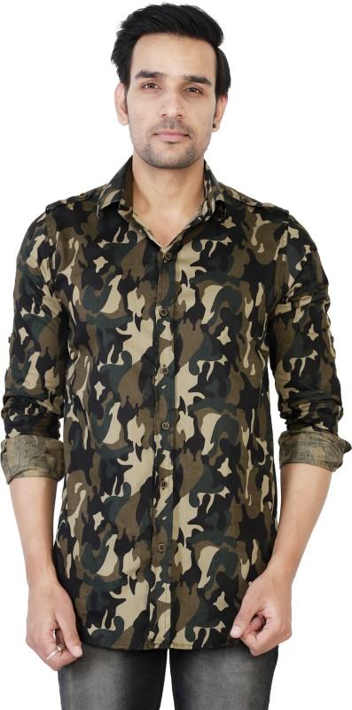 U TURN Men's Military Camouflage Casual Beige Shirt