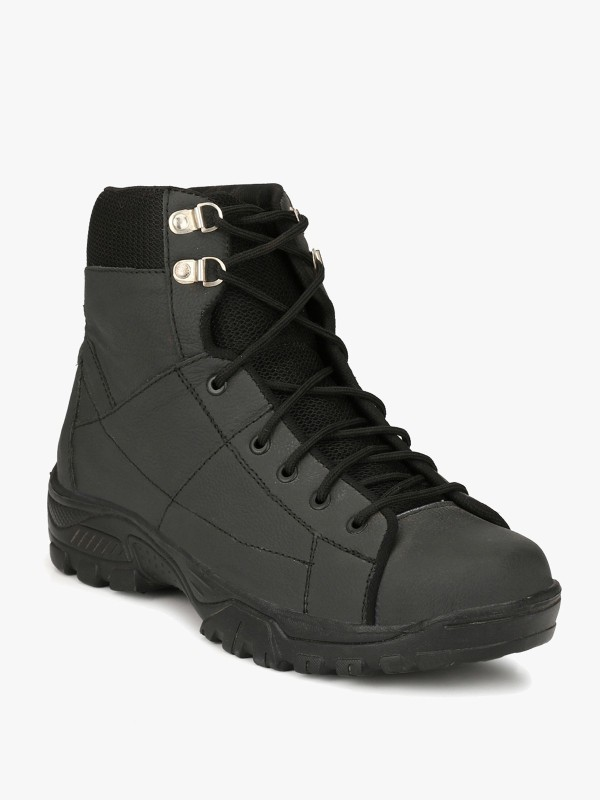 Eego Italy Heavy Duty Genuine Leather Steel Toe Safety Boots Hiking & Trekking Shoes For Men(Black)