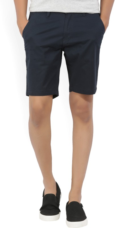 Kenneth Cole Solid Mens Dark Blue Chino Shorts