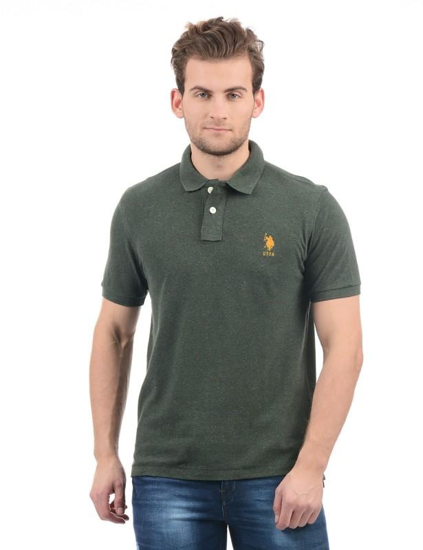U.S. Polo Assn Self Design Men Polo Neck Green T-Shirt