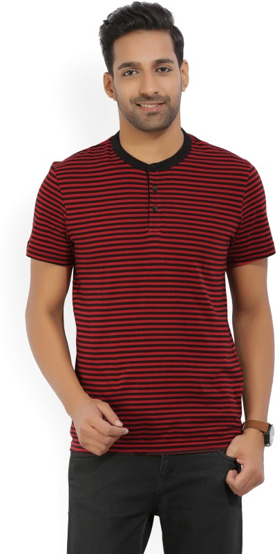 Kenneth Cole Striped Mens Henley Red, Black T-Shirt