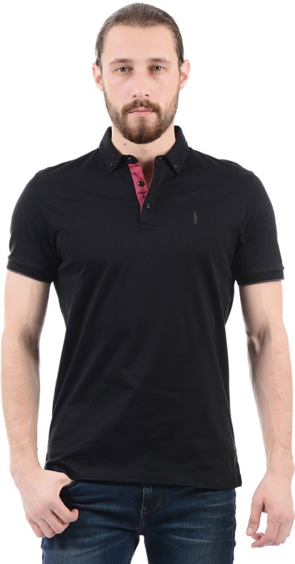 Arrow New York Solid Men Polo Neck Black T-Shirt