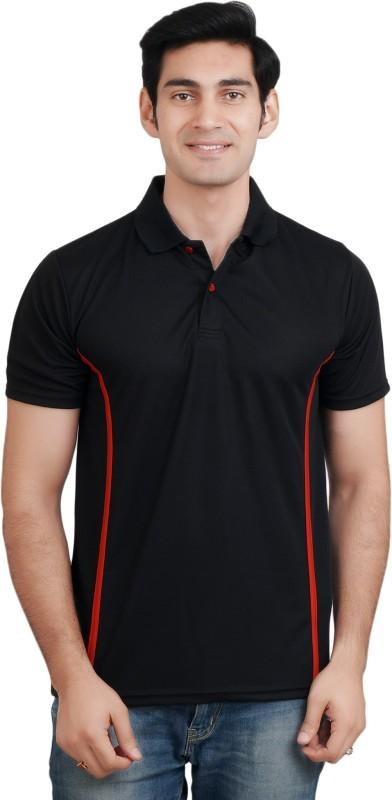 EPG Solid Men's Polo Neck Black T-Shirt