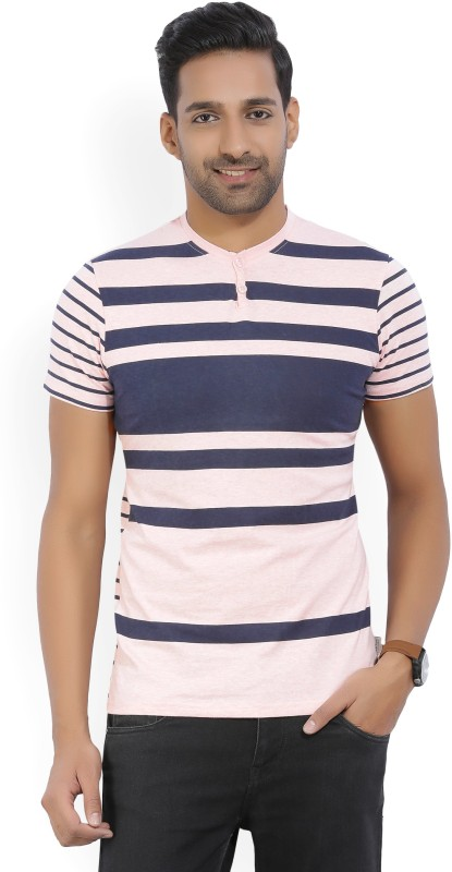 Kenneth Cole Striped Mens Henley Blue, Pink T-Shirt
