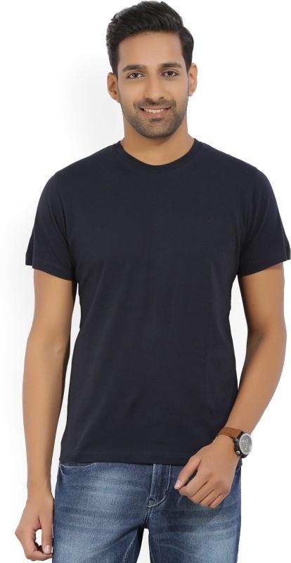 Kenneth Cole Solid Mens Round Neck Dark Blue T-Shirt
