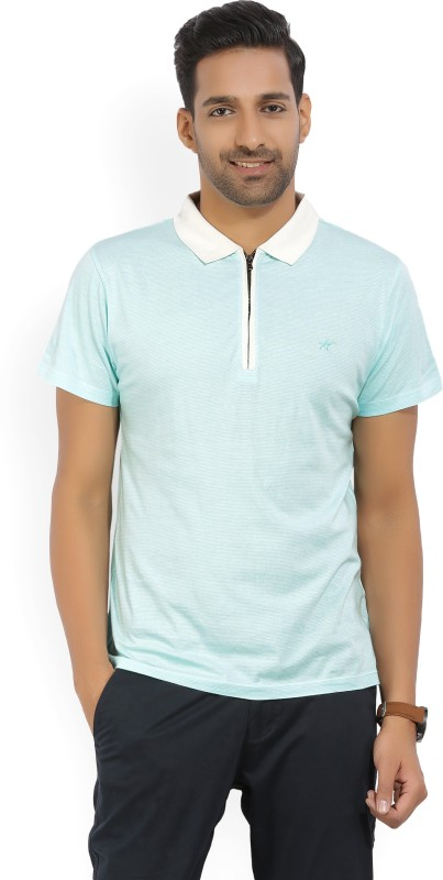 Kenneth Cole Solid Mens Polo Neck Blue T-Shirt