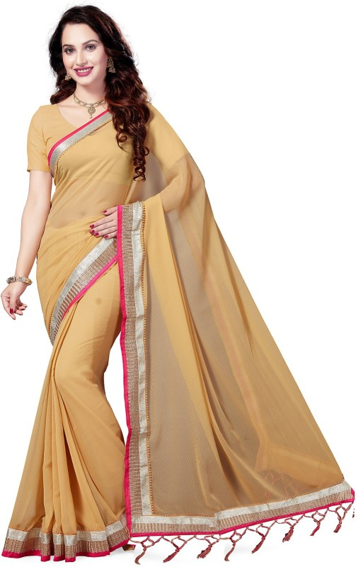 Ishin Embellished Bollywood Faux Georgette Saree(Beige)