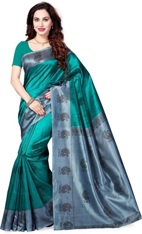 Ishin Printed Bollywood Art Silk Saree(Green)