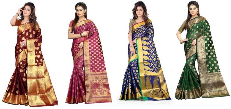 Hinayat Fashion Self Design Banarasi Banarasi Silk Saree(Pack of 4, Multicolor)
