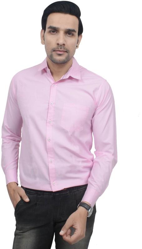Nutlase Men Solid Formal Pink Shirt