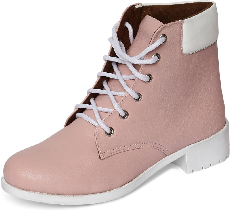 Marc Loire Marc Loire Womens Pink Block High Tops Lace up Casual Round Toe Covered Back Flat Shoes Boots For Women(Pink)