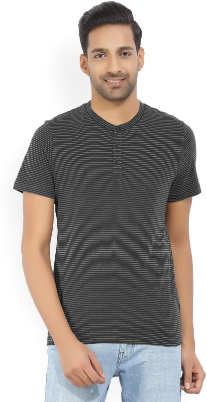 Kenneth Cole Striped Mens Henley Blue T-Shirt