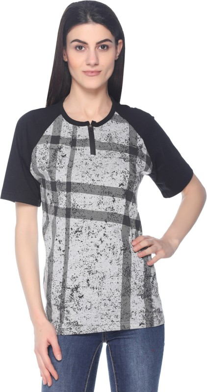 69GAL Printed Women Round Neck Grey, Black T-Shirt