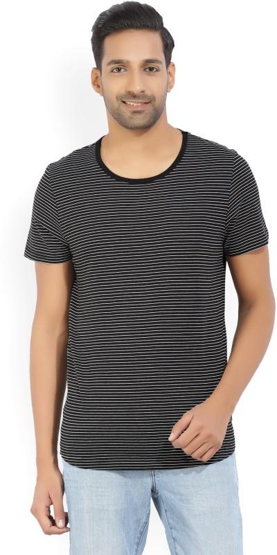 Kenneth Cole Striped Mens Round Neck Black, White T-Shirt