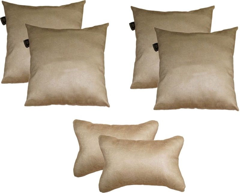 Lushomes Beige Polyester Car Pillow Cushion for Universal For Car(Square, Pack of 6)