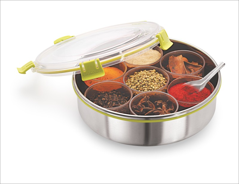 Magnus Stainless Steel Masala Dabba with Clip lock, Leak Proof & Airtight Container - 2650 ml Steel Spice Container(Pack of 9, Silver)