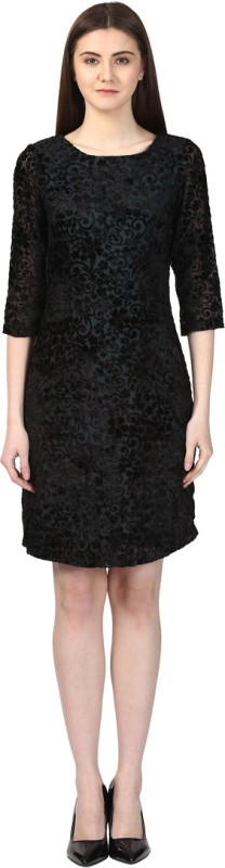 Park Avenue Women's Gathered Black Dress
