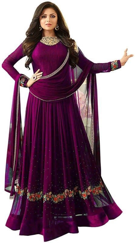Aryan Fashion Store Georgette Embroidered Semi-stitched Salwar Suit Dupatta Material