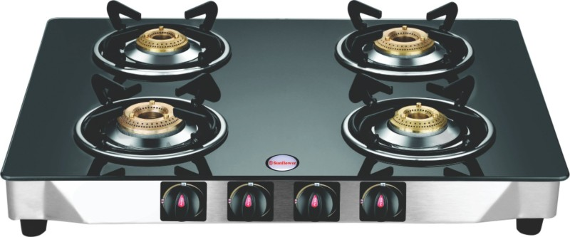 DPSUNFLOWER Heavy stainless steel, Glass Body Glass Manual Gas Stove(4 Burners)