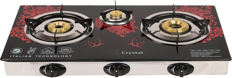 ILU Surya Stainless Steel, Glass Automatic Gas Stove(3 Burners)