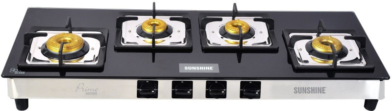 Sunshine Sunshine 4 Burner Olympic Prime Manual Ignition Toughened Glass Gas Stove Glass, Stainless Steel Manual Gas Stove(4 Burners)