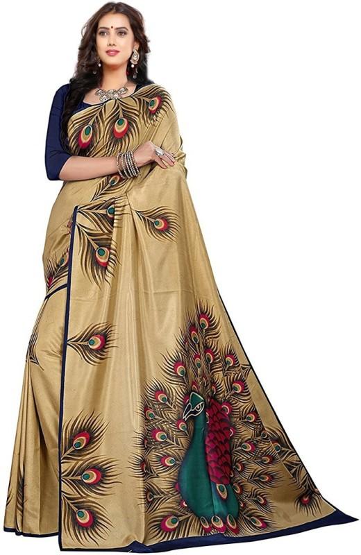 V J Fashion Self Design Mysore Art Silk Saree(Gold)