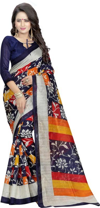 Yashika Printed Bhagalpuri Art Silk Saree(Multicolor)