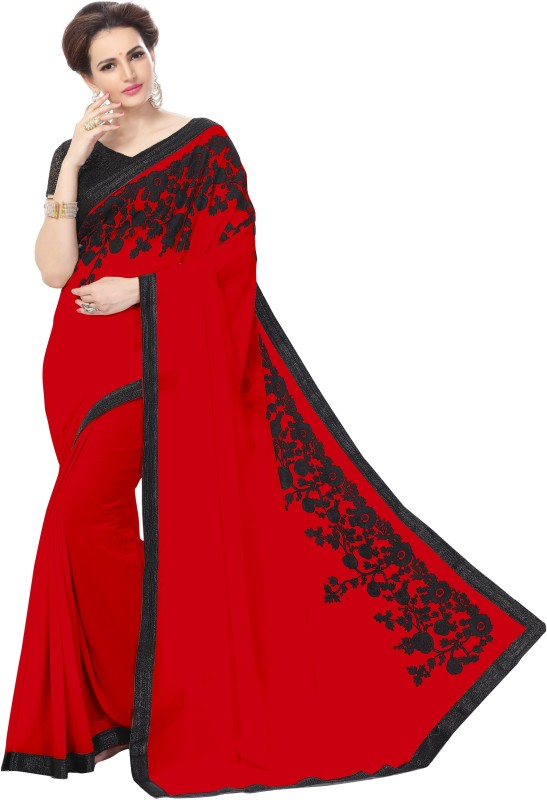 onlinefayda Embroidered Daily Wear Chiffon Saree(Red)