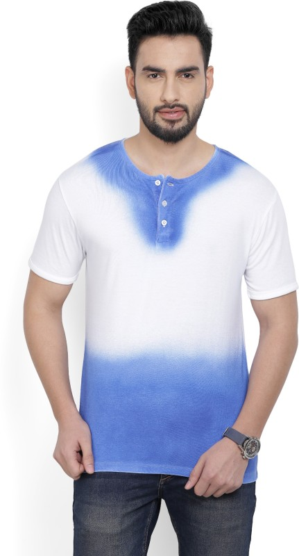 Billion PerfectFit Self Design Men Henley Neck White, Blue T-Shirt