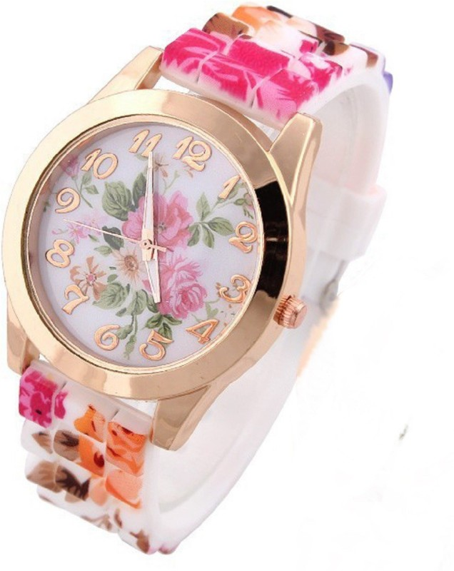 COSMIC NEW GENEVA FLORAL BIG SIZE DIAL - 32 MM DIAMETER PARTY WEAR WOMEN BRANDED COLORFUL GIFT COLLECTION Analog Watch - For Girls