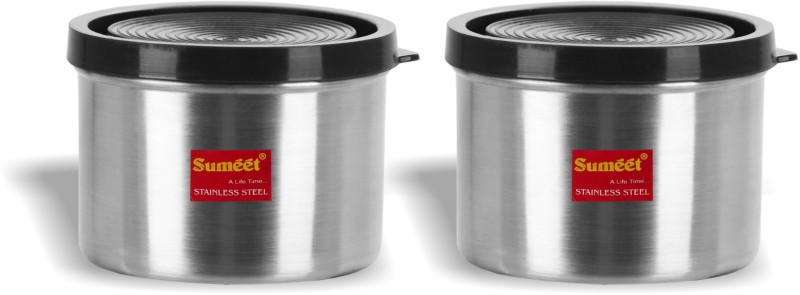 Sumeet Stainless Steel Food Storage Container with Flexible Airtight Silicon Lid Set of 2 (450 ML each) - 450 ml Steel Utility Box(Pack of 2, Steel)