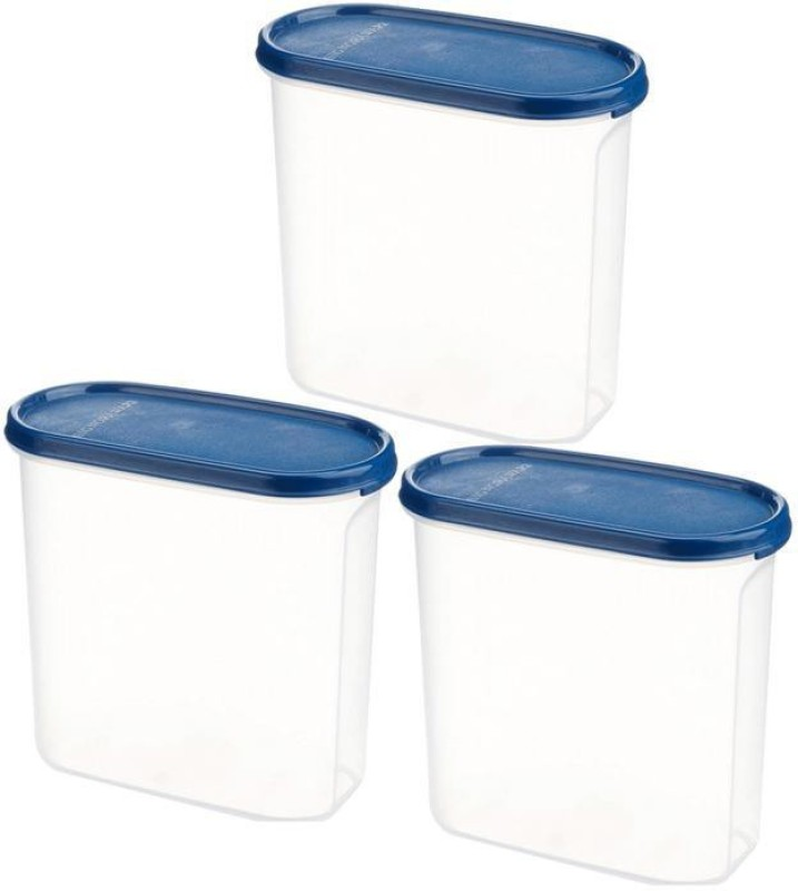 Signoraware Modular Container Oval  - 1.7 L Plastic Grocery Container(Pack of 3, White, Blue)