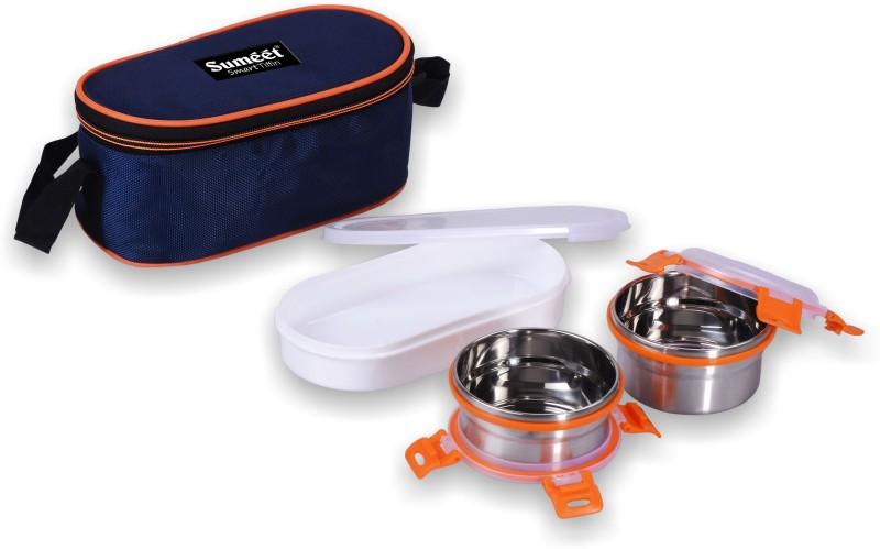 Sumeet Smart Tiffin With 2 Airtight & Leak Proof Stainless Steel OMG Containers + 1 Plastic Container + Insulated Pouch - 300 ml Steel Utility Box(Pack of 3, Steel)